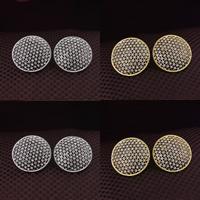 Befestiger Zirkonia Messing Ohrring, flache Runde, plattiert, Micro pave Zirkonia, keine, frei von Nickel, Blei & Kadmium, 22mm, 3PaarePärchen/Menge, verkauft von Menge