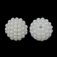 ABS-Kunststoff-Perlen, ABS Kunststoff, rund, Demontage und Montage & Nachahmung Perle, weiß, 14mm, Bohrung:ca. 2mm, ca. 470PCs/Tasche, verkauft von Tasche