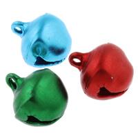 Aluminium Glockenanhänger, Spritzlackierung, gemischte Farben, frei von Nickel, Blei & Kadmium, 12x13x10mm, Bohrung:ca. 1mm, 1000PCs/Tasche, verkauft von Tasche