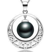 Tahiti Perlen Anhänger, mit 925 Sterling Silber, rund, natürlich, verschiedene Größen vorhanden & hohl, schwarz, Bohrung:ca. 2-7mm, verkauft von PC