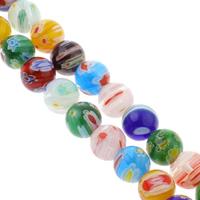 Millefiori Glasperlen, Glas Millefiori, rund, handgemacht, verschiedene Größen vorhanden, gemischte Farben, Bohrung:ca. 1mm, verkauft per ca. 14 ZollInch Strang