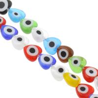 Böser Blick Lampwork Perlen, Herz, handgemacht, böser Blick- Muster & verschiedene Größen vorhanden, gemischte Farben, Bohrung:ca. 1mm, Länge:ca. 13.5 ZollInch, verkauft von Tasche