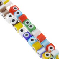Böser Blick Lampwork Perlen, Würfel, handgemacht, böser Blick- Muster, gemischte Farben, 6x6mm, Bohrung:ca. 1mm, Länge:ca. 15 ZollInch, 10SträngeStrang/Tasche, verkauft von Tasche