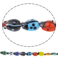 Tier Lampwork Perlen, Marienkäfer, handgemacht, verschiedene Größen vorhanden, gemischte Farben, Bohrung:ca. 1mm, Länge:ca. 10 ZollInch, verkauft von Tasche