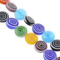 Millefiori Glasperlen, Glas Millefiori, flache Runde, handgemacht, verschiedene Größen vorhanden, gemischte Farben, Bohrung:ca. 1mm, Länge:ca. 14 ZollInch, verkauft von Tasche