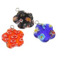 Millefiori Glas Anhänger Schmuck, Glas Millefiori, mit Eisen, Blume, handgemacht, verschiedene Größen vorhanden, gemischte Farben, Bohrung:ca. 1.5mm, 10PCs/Tasche, verkauft von Tasche
