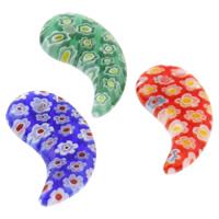 Millefiori Glas Anhänger Schmuck, Glas Millefiori, Horn, handgemacht, gemischte Farben, 14x23x4mm, Bohrung:ca. 1mm, 10PCs/Tasche, verkauft von Tasche