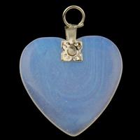 Opal Anhänger, mit Eisen, Herz, 20x27x4mm, Bohrung:ca. 3mm, 10PCs/Tasche, verkauft von Tasche