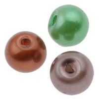Glasperlen Perle, rund, gemischte Farben, 5x6mm, Bohrung:ca. 1.5mm, 10Taschen/Menge, ca. 150/Tasche, verkauft von Menge