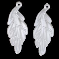 ABS-Kunststoff-Perlen Anhänger, Blatt, weiß, 16x44x3mm, Bohrung:ca. 1mm, 30PCs/Tasche, verkauft von Tasche