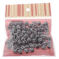 Volltonfarbe Acryl Perlen, Fussball, zweifarbig, 10x10mm, 100x170mm, Bohrung:ca. 2mm, ca. 90PCs/Tasche, verkauft von Tasche