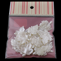 ABS-Kunststoff-Perlen Anhänger, Blatt, weiß, 26x35x3mm, 100x170mm, Bohrung:ca. 1mm, 30PCs/Tasche, verkauft von Tasche