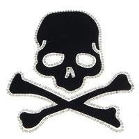 Eisen auf Nailheads, Strass, mit Kleber Film & Baumwollsamt, Schädel, schwarz, 115x120x1.50mm, 10PCs/Menge, verkauft von Menge