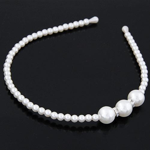 Haarreif, ABS-Kunststoff-Perlen, weiß, 125x135x13mm, verkauft von PC