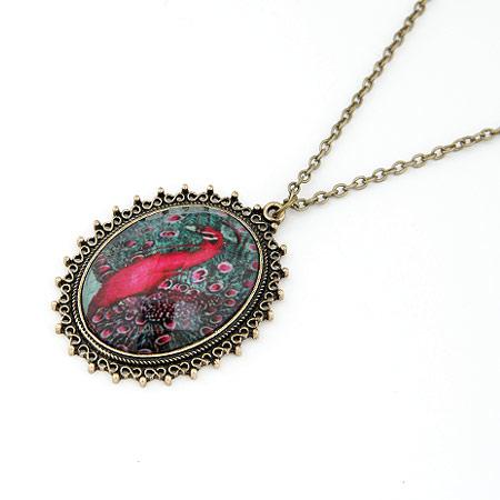 Zinklegierung Pullover Halskette, mit Harz, flachoval, antike Bronzefarbe plattiert, Oval-Kette, frei von Blei & Kadmium, 700x55x40mm, verkauft per ca. 27.56 ZollInch Strang