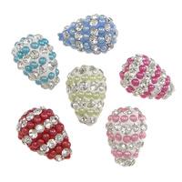Halb gebohrte Strass Perlen, Lehm pflastern, mit Harz-Perle, Tropfen, 73 Stück mit Strass & halbgebohrt, keine, 11x15mm, Bohrung:ca. 1mm, 30PCs/Menge, verkauft von Menge