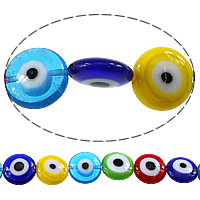 Böser Blick Lampwork Perlen, flache Runde, böser Blick- Muster, gemischte Farben, 12x5.50mm, Bohrung:ca. 1mm, Länge:ca. 16 ZollInch, 10SträngeStrang/Menge, ca. 34PCs/Strang, verkauft von Menge