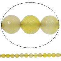 Natürliche gelbe Achat Perlen, Gelber Achat, rund, facettierte, 10mm, Bohrung:ca. 1mm, Länge:ca. 15 ZollInch, 10SträngeStrang/Menge, ca. 38PCs/Strang, verkauft von Menge