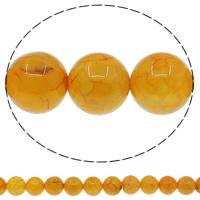 Natürliche gelbe Achat Perlen, Geknister Achat, rund, gelb, 12mm, Bohrung:ca. 1mm, Länge:ca. 15 ZollInch, 10SträngeStrang/Menge, ca. 32PCs/Strang, verkauft von Menge