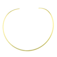 Mode-Halskette, 304 Edelstahl, goldfarben plattiert, 3mm, Innendurchmesser:ca. 141x135mm, Länge:ca. 15 ZollInch, 5PCs/Menge, verkauft von Menge