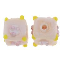 Holprige Lampwork Perlen, Würfel, handgemacht, uneben, Rosa, 12x12mm, Bohrung:ca. 1.5mm, 10PCs/Tasche, verkauft von Tasche