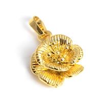 24 k-Gold überzogene hängende Farbe, Messing, Blume, 24 K vergoldet, geschichtet, frei von Nickel, Blei & Kadmium, 15x24mm, Bohrung:ca. 2x4.5mm, 30PCs/Menge, verkauft von Menge
