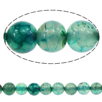 Natürliche Drachen Venen Achat Perlen, Drachenvenen Achat, rund, grün, 8mm, Bohrung:ca. 1mm, Länge:ca. 15 ZollInch, 20SträngeStrang/Menge, ca. 48PCs/Strang, verkauft von Menge