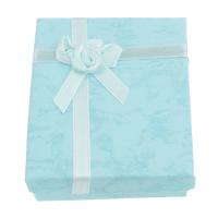 Karton Schmuckset Kasten, Fingerring & Halskette, mit Satinband, Rechteck, Türkisblau, 66x80x23mm, 12PCs/Tasche, verkauft von Tasche