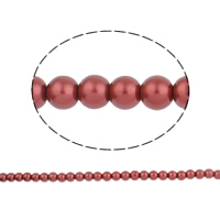 Einbrennlack Glasperlen, rund, rot, 10mm, Bohrung:ca. 1mm, Länge:ca. 32.2 ZollInch, 10SträngeStrang/Tasche, ca. 92PCs/Strang, verkauft von Tasche