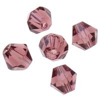 Doppelkegel Kristallperlen, Kristall, facettierte, heller Amethyst, 5x5mm, Bohrung:ca. 1mm, 60PCs/Tasche, verkauft von Tasche