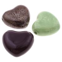 Glasierte Porzellan Perlen, Herz, glaciert, gemischte Farben, 31-32mm, 28-29mm, Bohrung:ca. 3mm, 100PCs/Tasche, verkauft von Tasche