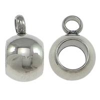 Edelstahl Kaution Perlen, Trommel, originale Farbe, 6.50x9x5mm, Bohrung:ca. 2mm, 4mm, 1000PCs/Menge, verkauft von Menge