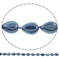 Vergoldete Achat Perlen, Tropfen, plattiert, blau, 13x18x6mm, Bohrung:ca. 1mm, Länge:ca. 15.5 ZollInch, 5SträngeStrang/Tasche, ca. 20PCs/Strang, verkauft von Tasche