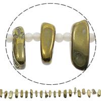 Vergoldete Achat Perlen, goldfarben plattiert, 6-9mm, 28-34mm, Bohrung:ca. 1mm, Länge:ca. 15.5 ZollInch, 5SträngeStrang/Tasche, ca. 32PCs/Strang, verkauft von Tasche