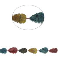 Achat Perlen, Blatt, gemischte Farben, 32x22x7mm-38x26x12mm, Bohrung:ca. 1mm, ca. 10PCs/Strang, verkauft per ca. 16.1 ZollInch Strang