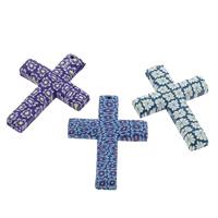 Polymer Ton Anhänger, Kreuz, handgemacht, mit Blumenmuster, gemischte Farben, 45x60x7mm, Bohrung:ca. 1.5mm, 100PCs/Tasche, verkauft von Tasche