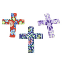 Polymer Ton Anhänger, Kreuz, handgemacht, mit Blumenmuster, gemischte Farben, 46x60x4mm, Bohrung:ca. 1.5mm, 100PCs/Tasche, verkauft von Tasche