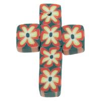 Polymer Ton Anhänger, Kreuz, handgemacht, mit Blumenmuster, 21x32x3mm, Bohrung:ca. 1mm, 100PCs/Tasche, verkauft von Tasche