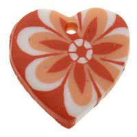 Polymer Ton Anhänger, Herz, handgemacht, mit Blumenmuster, orange, 19x19x4mm, Bohrung:ca. 1mm, 100PCs/Tasche, verkauft von Tasche