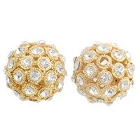 Strass Messing Perlen, rund, plattiert, mit Strass & hohl, keine, frei von Nickel, Blei & Kadmium, 26mm, Bohrung:ca. 3mm, verkauft von PC