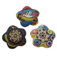 Polymer Ton Anhänger, handgemacht, mit Blumenmuster & gemischt, 48x8mm, Bohrung:ca. 1mm, 50PCs/Tasche, verkauft von Tasche