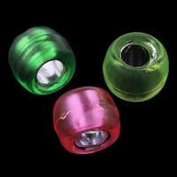 Transparente Acryl-Perlen, Acryl, Trommel, Silber Innen, gemischte Farben, 9x6mm, Bohrung:ca. 4mm, ca. 1800PCs/Tasche, verkauft von Tasche