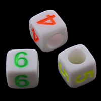 Anzahl Acrylkorn, Acryl, fluoreszierende & gemischt & Volltonfarbe, 6x6mm, Bohrung:ca. 3mm, ca. 2750PCs/Tasche, verkauft von Tasche
