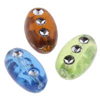 Silberdruck Acrylperlen, Acryl, oval, transparent, gemischte Farben, 5x9x4mm, Bohrung:ca. 1mm, ca. 3400PCs/Tasche, verkauft von Tasche