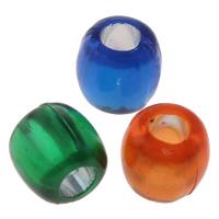 Transparente Acryl-Perlen, Acryl, Zylinder, Silber Innen, gemischte Farben, 7x7mm, Bohrung:ca. 3mm, ca. 2600PCs/Tasche, verkauft von Tasche