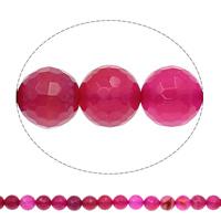 Natürliche Rosa Achat Perlen, rund, verschiedene Größen vorhanden & facettierte, Bohrung:ca. 1mm, Länge:ca. 15.7 ZollInch, verkauft von Tasche