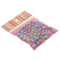 Chemische Wash Acryl Perlen, mit OPP, oval, chemische-Waschanlagen, gemischte Farben, 11x12mm, 100x170mm, Bohrung:ca. 1.5mm, ca. 70PCs/Tasche, verkauft von Tasche