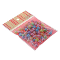 Chemische Wash Acryl Perlen, mit OPP, Fussball, chemische-Waschanlagen, gemischte Farben, 10mm, 100x170mm, Bohrung:ca. 1.5mm, ca. 100PCs/Tasche, verkauft von Tasche