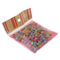 Chemische Wash Acryl Perlen, mit OPP, rund, chemische-Waschanlagen, gemischte Farben, 8mm, 100x170mm, Bohrung:ca. 1.5mm, ca. 100PCs/Tasche, verkauft von Tasche
