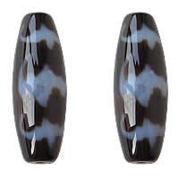 Natürliche Tibetan Achat Dzi Perlen, oval, fünf Segen & zweifarbig, Grad AAA, 13x38mm, Bohrung:ca. 2mm, verkauft von PC